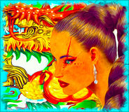 Asiatin mit bunter Zusammenfassung, Drachehintergrund Lizenzfreies Stockbild