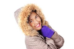 Asiatin-tragender Winter-Mantel stockbilder
