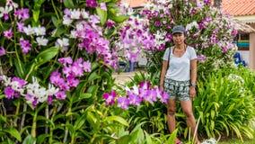 Asiatin umgeben durch Orchideen stockbilder