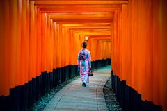 Asiatinnen in den traditionellen japanischen Kimonos an Schrein Fushimi Inari in Kyoto, Japan lizenzfreie stockfotos