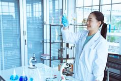 Asiatinwissenschaftlerblick auf Reagenzglas in ihrer Hand mit blauem Handschuh für blaue Flüssigkeit der Analyse lizenzfreie stockfotos