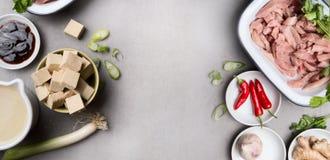 Asiatique faisant cuire des ingrédients dans des cuvettes avec le tofu, le piment, la sauce de soja, la viande, le gingembre et l Images libres de droits