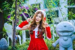 Asiatique Santa Claus Girl Photo libre de droits
