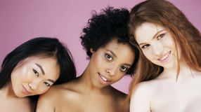 Asiatique, scandinave, émotif gai d'afro-américain Photographie stock
