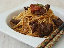 Asiatique Somen Noodles avec du boeuf Photo libre de droits