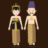 Asiatique traditionnel indonésien de costume de bande dessinée de vecteur de robe de femme de vêtements de javanese de Java-Centr Photo stock