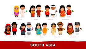 Asiatiques dans des vêtements nationaux L'Asie du sud Ensemble de personnage de dessin animé illustration stock