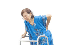 Asiatische ältere Frauenrückenschmerzen Stockfotografie