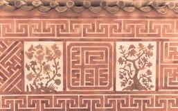 Asiatische alte Terrakottabacksteinmauer lizenzfreie stockfotografie