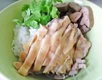 Asiatische Art Hainan-Huhnreisnahaufnahme Stockbilder