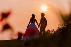 Asiatische Braut und Bräutigam Standing auf Berg bei Sonnenuntergang Lizenzfreie Stockbilder