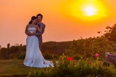 Asiatische Braut und Bräutigam Standing auf Berg bei Sonnenuntergang Stockbilder