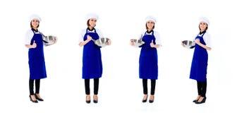 Asiatische Cheffrauenbesetzungs-Reihe Stockfotos