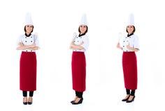 Asiatische Cheffrauenbesetzungs-Reihe Stockfoto