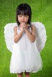 Asiatische chinesische tragende Engelsflügel des kleinen Mädchens und Beten Lizenzfreies Stockfoto