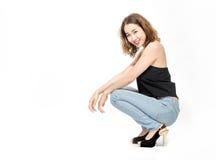 Asiatische Damenaufgabe auf weißem Hintergrund lizenzfreie stockbilder