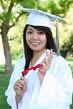 Asiatische Frau an der Staffelung Stockfotografie