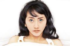Asiatische Frau, die Schlaflosigkeit erhält Lizenzfreies Stockfoto