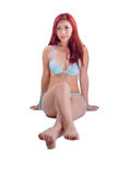 Asiatische Frau, die zweiteiligen Badeanzug trägt Lizenzfreies Stockbild