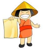 Asiatische Frau hält in der Hand ein unbelegtes Blatt Papier an Lizenzfreie Stockbilder