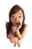 Asiatische Frau mit großem Puppe-Kopf Stockfotografie