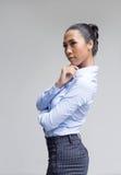 asiatische Frauenaktion im Geschäftsblick stockfotografie