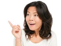 Asiatische Frauenvertretung überrascht Stockbilder