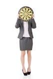 Asiatische Geschäftsfrau mit einer Dartscheibe Lizenzfreie Stockfotografie
