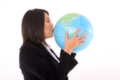 Asiatische Geschäftsfrau mit Kugel Lizenzfreies Stockfoto
