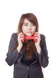 Asiatische Geschäftsfrau nicht glücklich zu trainieren Stockfotografie
