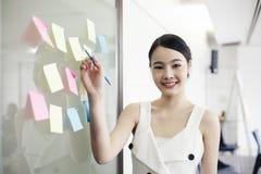 Asiatische Geschäftsfrauen, die zusammen an Wandglas lächeln und arbeiten lizenzfreie stockfotos