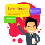 Asiatische Geschäftsmann-Cartoon Character Using-Zelle Lizenzfreie Stockbilder