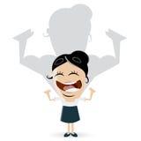 Asiatische Geschäftsfrau zeigt ihre Muskeln Lizenzfreies Stockfoto