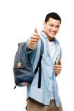 Asiatische glückliche Daumen des Studenten oben Lizenzfreie Stockfotografie