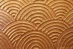 Asiatische goldene Wellenmalerei Stockbild