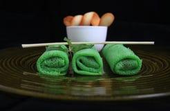 Asiatische grüne Frühlingsrolle Stockfotografie