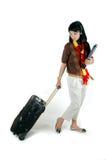 Asiatische Hochschule der jungen Frau betriebsbereit zum Reisen Lizenzfreie Stockbilder