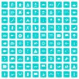 100 asiatische Ikonen stellten Schmutz blau ein Stockfoto