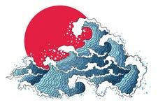 Asiatische Illustration von Meereswogen und von Sonne Stockbild