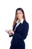 Asiatische indische Geschäftsfrau-Messwertebook Tablette stockbild
