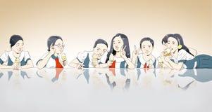 Asiatische Kinder, die Eiscreme essen Stockbilder