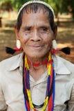 Asiatische lawae Mann des Portraits mit Rohr Stockbild