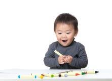 Asiatische Liebeszeichnung des kleinen Jungen Lizenzfreies Stockbild