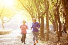 asiatische ältere Paare, die im Park trainieren Stockfoto