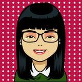 Asiatische Mädchenkarikatur Lizenzfreie Stockbilder