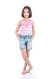 Asiatische Mädchenstellung des vollen Körpers stockfotos