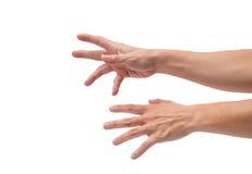 Asiatische männliche Hände, die heraus erreichen Lizenzfreie Stockfotos