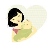 Asiatische Mutter und Schätzchen Stockfotos