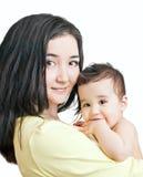 Asiatische Mutter und Schätzchenjunge Stockbild