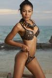 Asiatische Schönheit auf sonnigem Strand Lizenzfreie Stockfotos